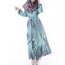 Muslim Robe Plus Size Long Sleeve Dress Summer   sky blue - $27.99