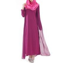 Muslim Robe Sunday Clothes Long Sleeve Dress   purple - $29.99