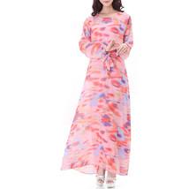 Muslim Robe Long Dress Long Sleeve Slim Chiffon   pink - $26.99