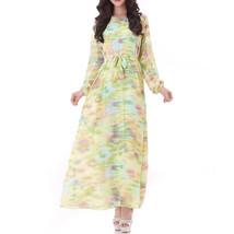 Muslim Robe Long Dress Long Sleeve Slim Chiffon   lime - $26.99