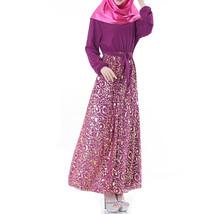 Muslim Robe Chiffon Long Sleeve Dress   purple      L - $30.99