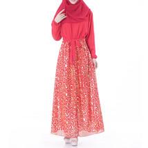 Muslim Robe Chiffon Long Sleeve Dress  red   L - $30.99