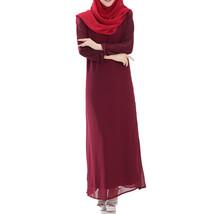 Muslim Robe Long Dress Big Peplum   wine red - $30.99