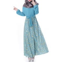 Muslim Robe Chiffon Long Sleeve Dress   sky blue     L - $30.99