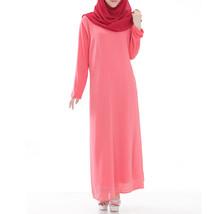 Muslim Robe Long Dress Big Peplum   watermelon red - $30.99