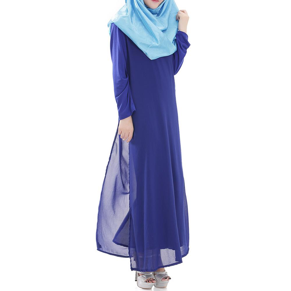 Muslim Robe Long Dress Big Peplum   sapphire blue - $30.99