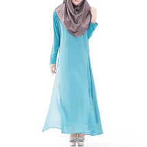 Muslim Robe Long Dress Big Peplum  sky blue - $30.99