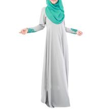 Muslim Women Garments Long Dress Lace Macrame Sunday Clothes  grey  M - $35.99