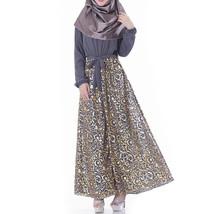 Muslim Robe Chiffon Long Sleeve Dress   neutral grey     L - $30.99