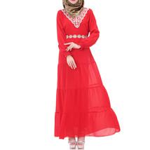 Muslim Chiffon Long Dress Sunday Clothes Long Sleeve  red - $30.99
