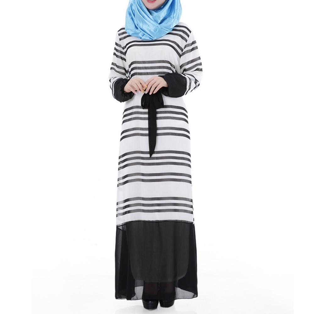 Muslim Chiffon Robe Women Garments Long Dress  black - $30.99