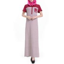 Muslim Women Garments Short Sleeve Robe Stripe Dress   wine red  S - $28.99