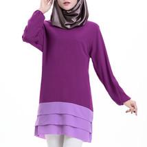 Chiffon Muslim Splicing Short Dress Long Sleeve All-match  purple - $24.99