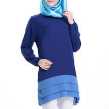 Chiffon Muslim Splicing Short Dress Long Sleeve All-match   sapphire blue - $24.99