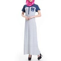 Muslim Women Garments Short Sleeve Robe Stripe Dress  blue   S - $28.99