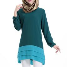 Chiffon Muslim Splicing Short Dress Long Sleeve All-match   dark green - $24.99