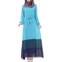 Muslim Motley Long Dress Chiffon Robe   sky blue - $24.99