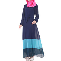 Muslim Motley Long Dress Chiffon Robe   navy - $24.99