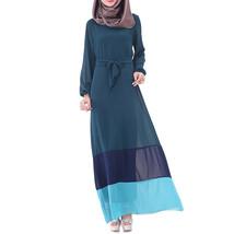 Muslim Motley Long Dress Chiffon Robe   indigo - $24.99