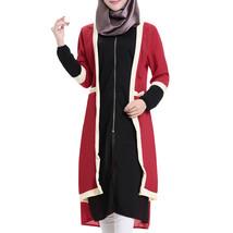 Muslim Short Dress Long Sleeve Knit Fake 2pcs Suit  black - $31.99