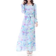 Muslim Robe Long Dress Long Sleeve Slim Chiffon   lake blue - $26.99