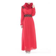 Malaysian Muslim Women Garments Big Peplum Dress Chiffon  red - $30.99