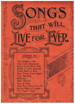 Song Book Songs That Will Live Forever Soldier's Tear Loch Lomond Poor O... - $5.69