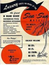 Sea N Sun World's Largest Motel Advertising Mailer 79th St Causeway Miam... - $24.75