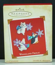 Hallmark Ornament WOODLAND FROLIC White Fox Rabbit Penguin Snowflakes NI... - £11.46 GBP