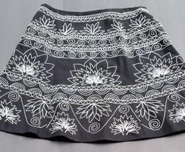 skirt Talbots 14 Black White Embroidered - $35.15
