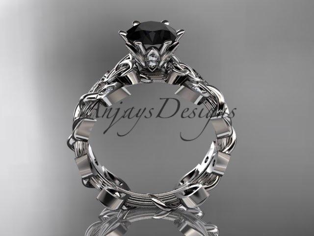 Platinum diamond celtic trinity knot wedding ring, Black Diamond  CT7124