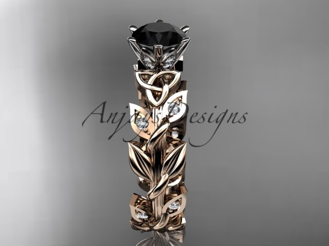 Celtic wedding ring, 14kt rose gold diamond celtic trinity knot wedding ring, Bl