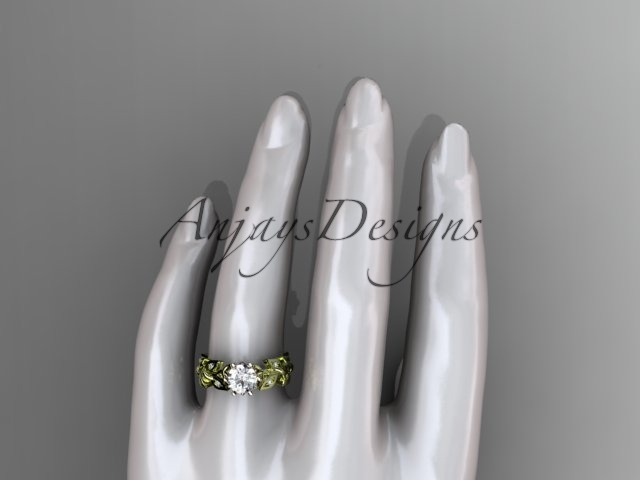 Celtic wedding ring, 14kt yellow gold diamond celtic trinity knot wedding ring,