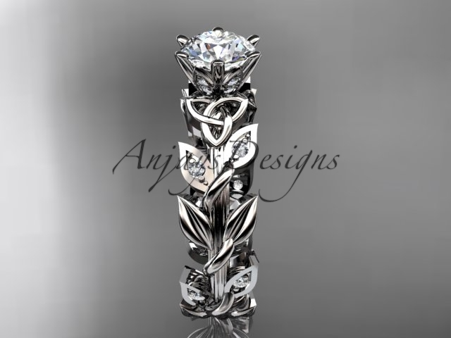 Patinum diamond celtic trinity knot wedding ring,  Moissanite  CT7124