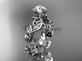 14kt white gold diamond celtic trinity knot wedding ring, bridal ring CT7124 - $1,195.00