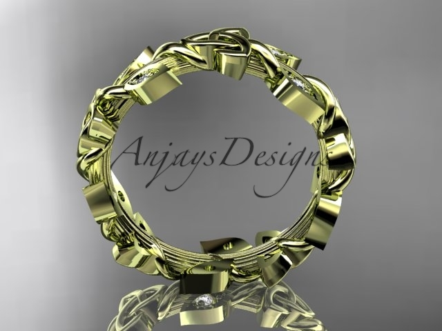 14kt yellow gold diamond celtic trinity knot wedding band, bridal ring CT7120B