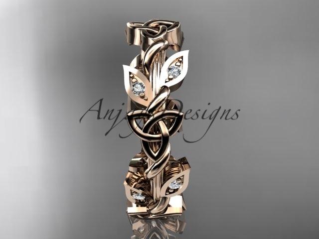 14kt rose gold diamond celtic trinity knot wedding band, bridal ring CT7120B