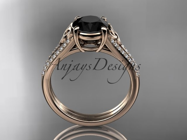 14kt rose gold celtic trinity knot engagement ring ,Black Diamond  CT7108