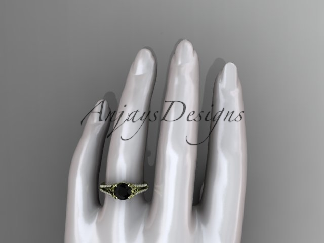 14kt yellow gold celtic trinity knot engagement ring ,Black Diamond  CT7108