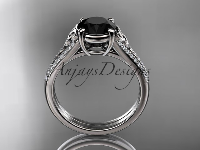 14kt white gold celtic trinity knot engagement ring ,Black Diamond  CT7108