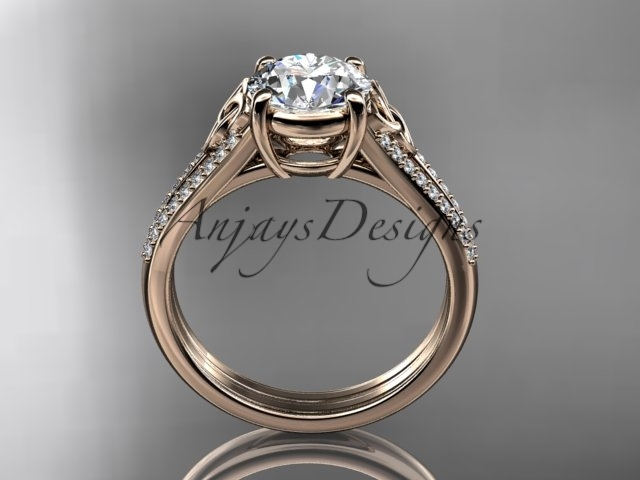 14kt rose gold celtic trinity knot engagement ring , Moissanite CT7108