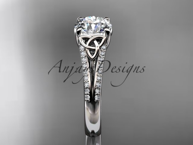 14k white gold celtic trinity knot engagement ring ,diamond wedding ring CT7108