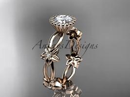 14k rose gold diamond leaf and vine wedding ring, engagement ring ADLR19D - $825.00