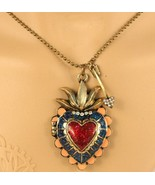 Vintage Lacquered Heart Locket Necklace - $6.99
