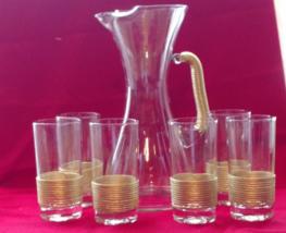 Vintage Glass Pitcher w 6 Glasses Serving Set w Gold Trim Mint Condition... - $349.99