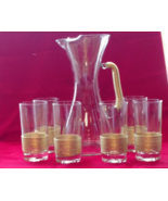 Vintage Glass Pitcher w 6 Glasses Serving Set w Gold Trim Mint Condition... - $349.99