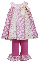 Little Girl 2T-6X Pink Gold Metallic Floral Colorblock Panel Dress/Legging Set