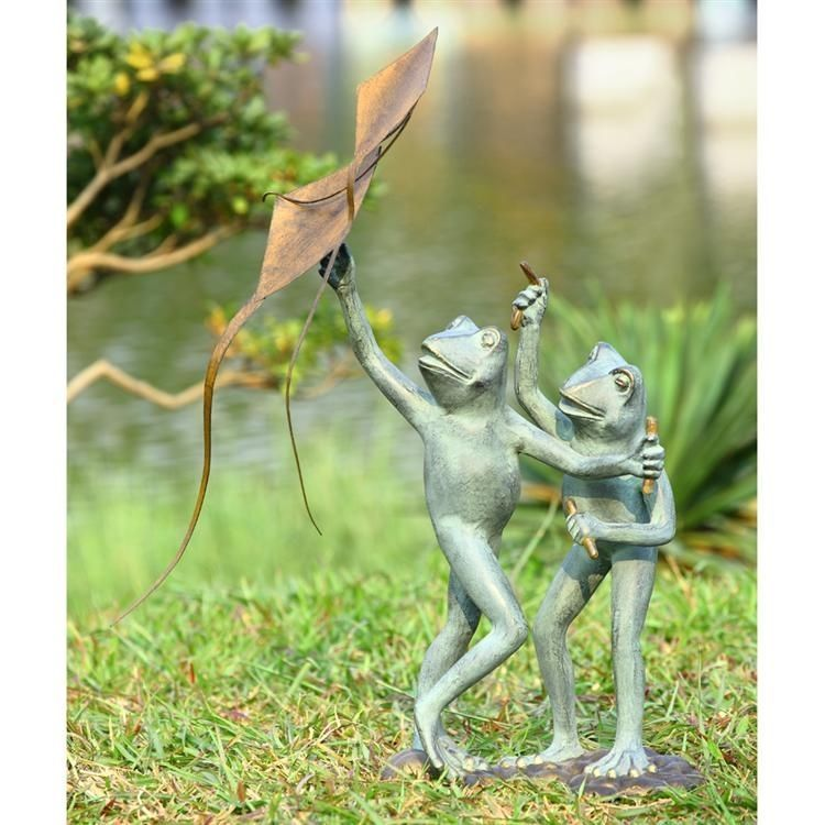 Frog kite flyers garden yard decor sculpture statue for Whimsical garden statues