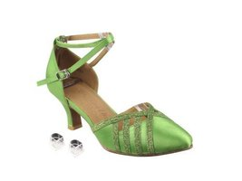 Very Fine Ladies Women Ballroom Dance Shoes EKSERA3530 Green Satin & Green St... - $65.95