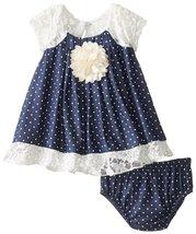 Bonnie Jean Baby Girls 3M-24M Blue Ivory Lace and Pin Dot Chambray Trapeze Dress